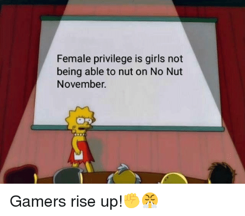Female Privilege: Female privilege is girls not  being able to nut on No Nut  November.