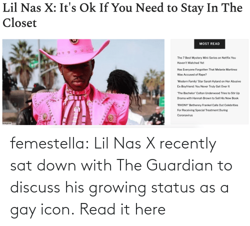 Its Ok: femestella: Lil Nas X recently sat down with The Guardian to discuss his growing status as a gay icon. Read it here
