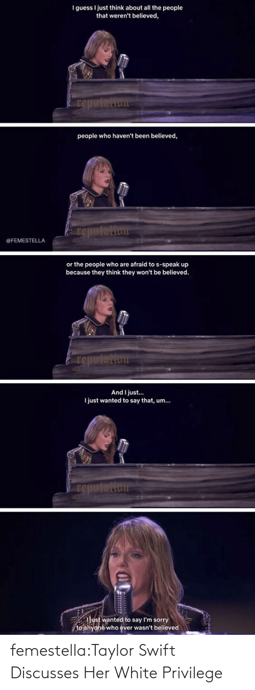 taylor: femestella:Taylor Swift Discusses Her White Privilege