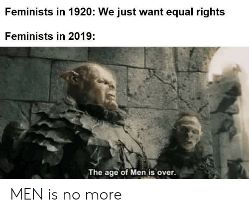 Age Of: Feminists in 1920: We just want equal rights  Feminists in 2019:  The age of Men is over. MEN is no more