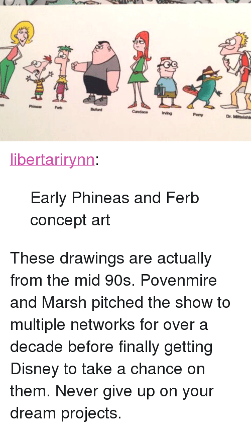 """Phineas and Ferb: Ferb  irving  Penny  Dr. Mitteishl <p><a href=""""https://libertarirynn.tumblr.com/post/174309996314/early-phineas-and-ferb-concept-art"""" class=""""tumblr_blog"""">libertarirynn</a>:</p>  <blockquote><p>Early Phineas and Ferb concept art</p></blockquote>  <p>These drawings are actually from the mid 90s. Povenmire and Marsh pitched the show to multiple networks for over a decade before finally getting Disney to take a chance on them. Never give up on your dream projects.</p>"""