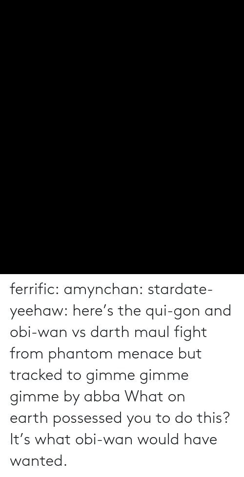 darth maul: ferrific:  amynchan:  stardate-yeehaw: here's the qui-gon and obi-wan vs darth maul fight from phantom menace but tracked to gimme gimme gimme by abba What on earth possessed you to do this?    It's what obi-wan would have wanted.