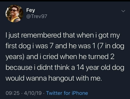 Iphone, Twitter, and Old: Fey  @Trev97  l just remembered that when i got my  first dog i was 7 and he was 1 (7 in dog  years) and i cried when he turned 2  because i didnt think a 14 year old dog  would wanna hangout with me.  09:25 4/10/19 Twitter for iPhone
