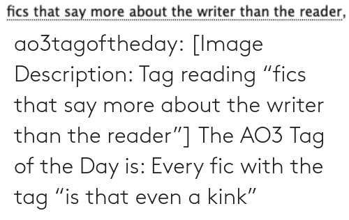 "Say More: fics that say more about the writer than the reader, ao3tagoftheday:  [Image Description: Tag reading ""fics that say more about the writer than the reader""]  The AO3 Tag of the Day is: Every fic with the tag ""is that even a kink"""