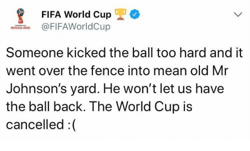Fifa, World Cup, and Fifa World Cup: FIFA World Cup  FIFAWorldCup  RUSSIA 208  Someone kicked the ball too hard and it  went over the fence into mean old Mr  Johnson's yard. He won't let us have  the ball back. The World Cup is  cancelled:(