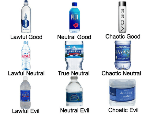 Good Neutral: FIJI  S  Chaotic Good  Lawful Good  Neutral Good  DASAN  ICE MOUNTAIN  evian  Lawful Neutral  True Neutral  Chaotic Neutral  drinking  ADIUAFINM  Couse  Pure Life  water  Choatic Evil  Neutral Evil  Lawful Evil  smartwater