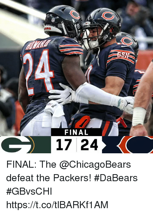 chicagobears: FINAL  17 24 FINAL: The @ChicagoBears defeat the Packers! #DaBears  #GBvsCHI https://t.co/tlBARKf1AM