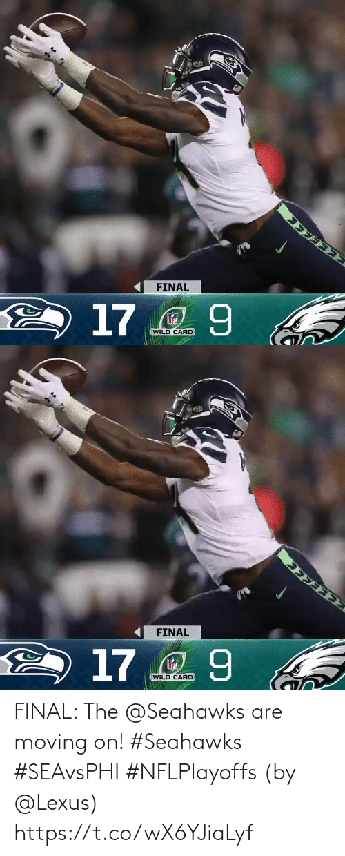 Wild: FINAL  2 17 2 9  NFL  WILD CARD   FINAL  2 17 2 9  NFL  WILD CARD FINAL: The @Seahawks are moving on! #Seahawks #SEAvsPHI #NFLPlayoffs  (by @Lexus) https://t.co/wX6YJiaLyf