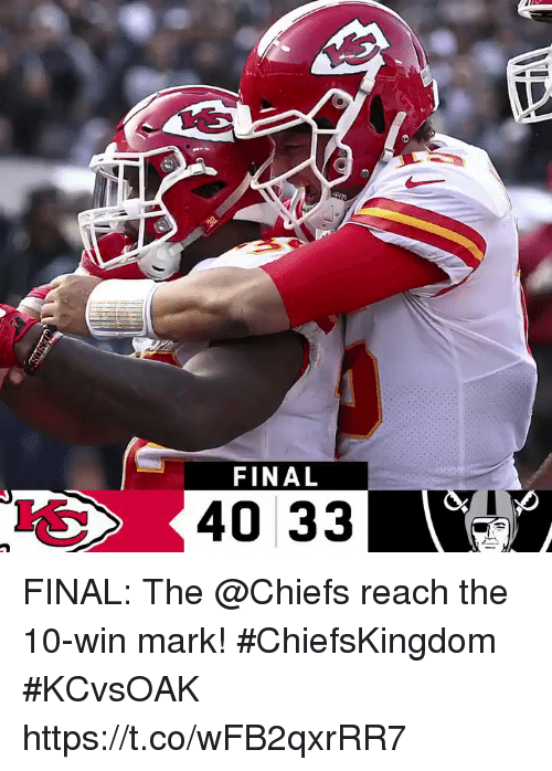 Memes, Chiefs, and 🤖: FINAL  40 33 FINAL: The @Chiefs reach the 10-win mark! #ChiefsKingdom  #KCvsOAK https://t.co/wFB2qxrRR7