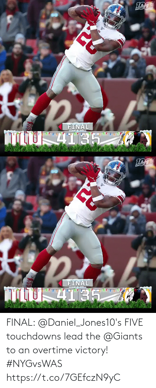 five: FINAL  4135   FINAL  4135 FINAL: @Daniel_Jones10's FIVE touchdowns lead the @Giants  to an overtime victory! #NYGvsWAS https://t.co/7GEfczN9yC