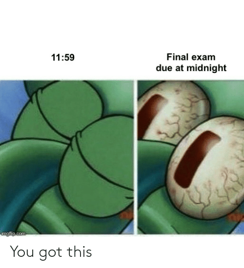 Got This: Final exam  11:59  due at midnight  imgflip.com You got this