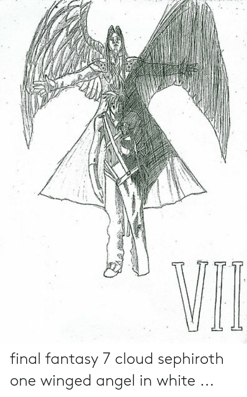 Final Fantasy 7 Cloud Sephiroth One Winged Angel In White