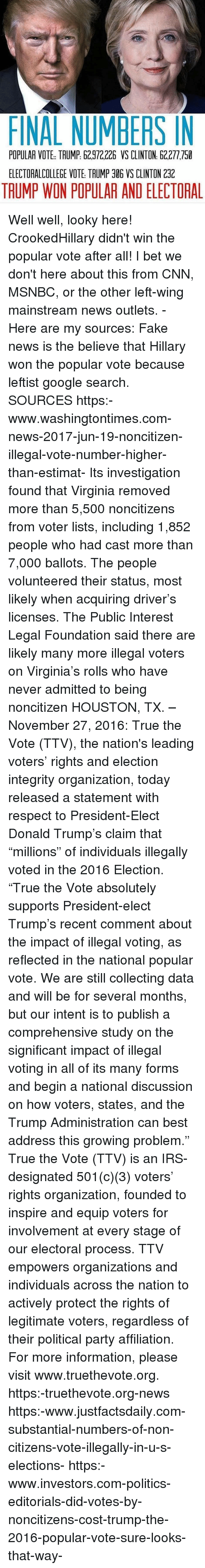 """cnn.com, Donald Trump, and Fake: FINAL NUMBERS IN  POPULAR VOTE TAUMP: 62.972,226 VS CLINTON 62.277,750  ELECTORALCOLLEGE VOTE TRUMP 306 VS CLINTON 2312  TAUMP WON POPULAR AND ELECTORAL Well well, looky here! CrookedHillary didn't win the popular vote after all! I bet we don't here about this from CNN, MSNBC, or the other left-wing mainstream news outlets. - Here are my sources: Fake news is the believe that Hillary won the popular vote because leftist google search. SOURCES https:-www.washingtontimes.com-news-2017-jun-19-noncitizen-illegal-vote-number-higher-than-estimat- Its investigation found that Virginia removed more than 5,500 noncitizens from voter lists, including 1,852 people who had cast more than 7,000 ballots. The people volunteered their status, most likely when acquiring driver's licenses. The Public Interest Legal Foundation said there are likely many more illegal voters on Virginia's rolls who have never admitted to being noncitizen HOUSTON, TX. – November 27, 2016: True the Vote (TTV), the nation's leading voters' rights and election integrity organization, today released a statement with respect to President-Elect Donald Trump's claim that """"millions"""" of individuals illegally voted in the 2016 Election. """"True the Vote absolutely supports President-elect Trump's recent comment about the impact of illegal voting, as reflected in the national popular vote. We are still collecting data and will be for several months, but our intent is to publish a comprehensive study on the significant impact of illegal voting in all of its many forms and begin a national discussion on how voters, states, and the Trump Administration can best address this growing problem."""" True the Vote (TTV) is an IRS-designated 501(c)(3) voters' rights organization, founded to inspire and equip voters for involvement at every stage of our electoral process. TTV empowers organizations and individuals across the nation to actively protect the rights of legitimate voters, regardless of """
