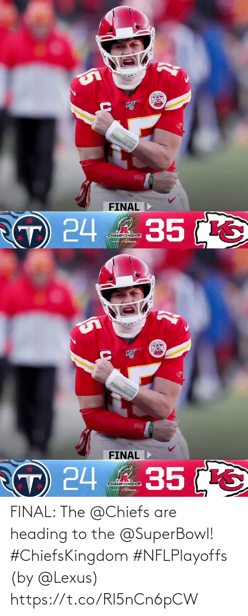 Chiefs: FINAL: The @Chiefs are heading to the @SuperBowl! #ChiefsKingdom #NFLPlayoffs  (by @Lexus) https://t.co/Rl5nCn6pCW