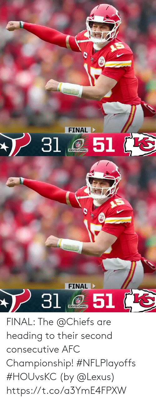 afc: FINAL: The @Chiefs are heading to their second consecutive AFC Championship! #NFLPlayoffs #HOUvsKC  (by @Lexus) https://t.co/a3YmE4FPXW