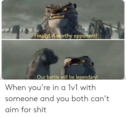 Shit, Aim, and Can: Finally! A worthy opponent!  Our battle will be legendary! When you're in a 1v1 with someone and you both can't aim for shit