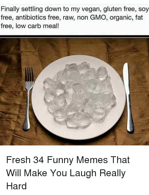 Fresh, Funny, and Memes: Finally settling down to my vegan, gluten free, soy  free, antibiotics free, raw, non GMO, organic, fat  free, low carb meal! Fresh 34 Funny Memes That Will Make You Laugh Really Hard