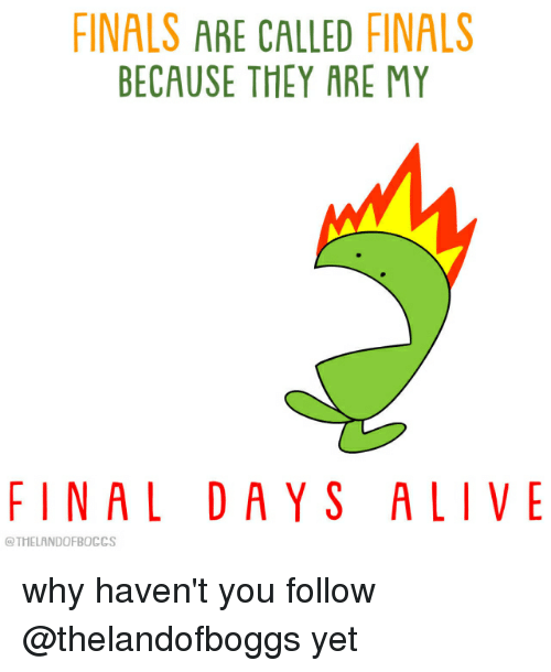 Alive, Finals, and Relatable: FINALS ARE CALLED FINALS  BECAUSE THEY ARE MY  FINAL DAYS ALIVE  @THELANDOFBOCCS why haven't you follow @thelandofboggs yet