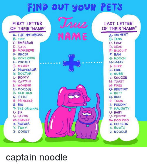 """Boo, Booty, and Butt: FIND OUT YOUR PETS  FIRST LETTER  OF THEIR""""NAME""""  LAST LETTER  OF THEIR""""NAME""""  NAME  A- THE NOTORIOUS  8- TINY  C- EMPEROR  D- SASS  E- MONSIEUR  F- UNCLE  G- GOVERNOR  H- POCKET  I M'LADY  J- PROFESSOR  K- DOCTOR  L- BOOTY  M- CAPTAIN  N- WONDER  O. DOODLE  P OLD MAN  Q- LITTLE  R- PRINCESS  S- BiG  T- THE ORIGINAL  U- SIR  V- BARON  W-SPANKY  X- SUGAR  Y- FOXY  2- COUNT  A- MONKEY  8- TANK  C- LOAF  D- BEAN  E- BISCUIT  F HAM  G- MOOCH  H- CAKES  I- FUZZ  J- GIRU  k- NUBS  L- SNOOZE  M- TOAST  N- PUSS  O- BRISCOIT  P BUTT  Q- Boo  R- TUNA  S- PUDDIN  T- NAUGHTY  U- BABY  V- CHEESE  X- CHU CHU  Y. BoOTS  2- NOODLE captain noodle"""