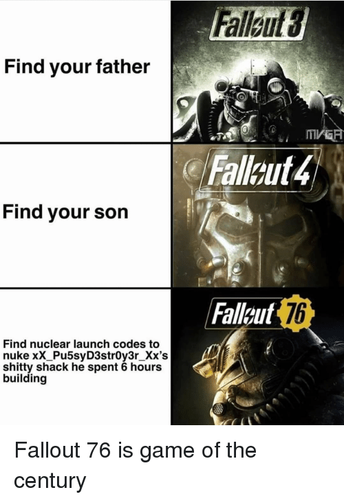Find Your Father Fallout 4 Find Your Son Fallaut 76 Find Nuclear