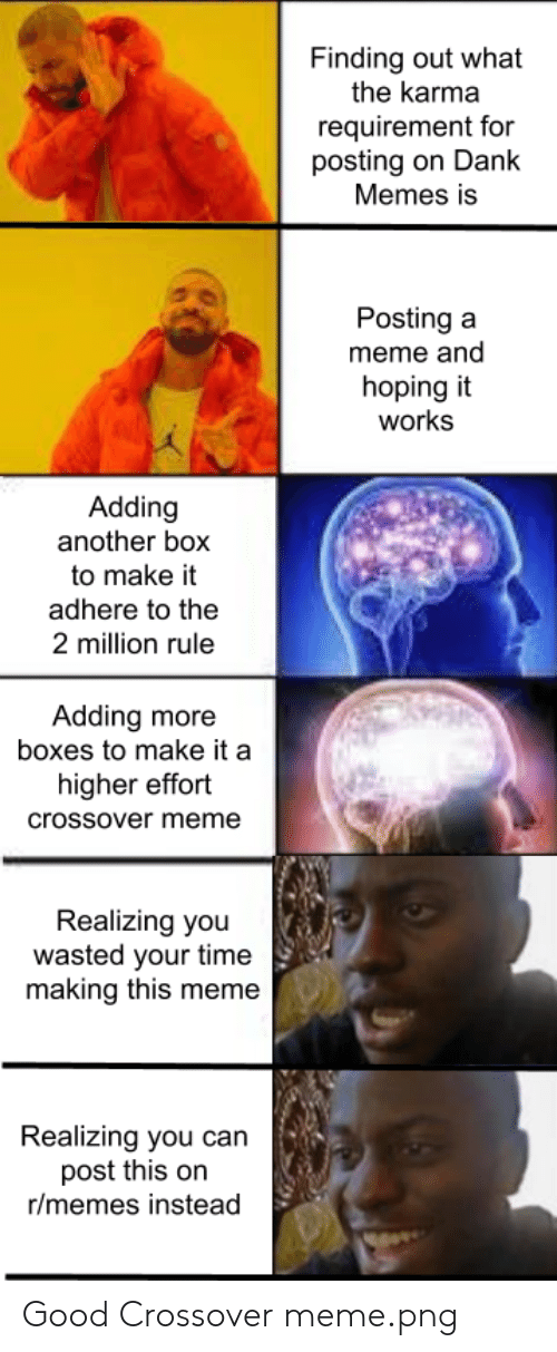 Meme Png: Finding out what  the karma  requirement for  posting on Dank  Memes is  Posting a  meme and  hoping it  works  Adding  another box  to make it  adhere to the  2 million rule  Adding more  boxes to make it a  higher effort  crossover meme  Realizing you  wasted your time  making this meme  Realizing you can  post this on  r/memes instead Good Crossover meme.png