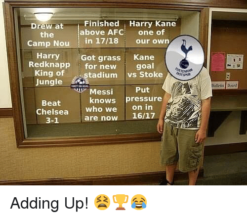 stoke: Finished Harry Kane  above AFC one of  Drew at  the  -  CampNou! in 17/18 our own  HarryGot grass Kane  Redknapp for new goal  King of  Jungle  tadiumvs Stoke  hillitin Run!  Put  on in  3-1 are now 16/17  Messi  knows pressure  Beat  Chelsea  who we Adding Up! 😫🏆😂