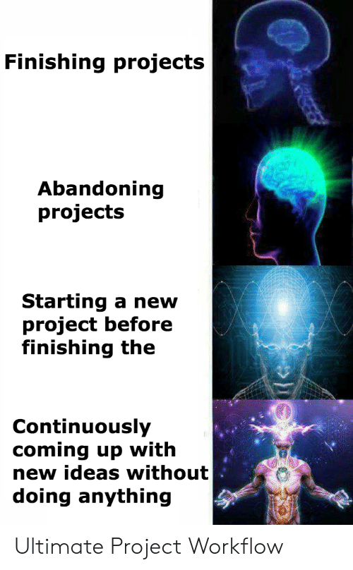 coming up: Finishing projects  Abandoning  projects  Starting a new  project before  finishing the  Continuously  coming up with  new ideas without  doing anything Ultimate Project Workflow