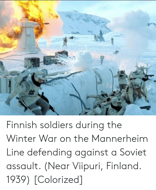 Soldiers, Winter, and Soviet: Finnish soldiers during the Winter War on the Mannerheim Line defending against a Soviet assault. (Near Viipuri, Finland. 1939) [Colorized]