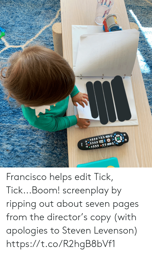 director: fios Francisco helps edit Tick, Tick...Boom! screenplay by ripping out about seven pages from the director's copy (with apologies to Steven Levenson) https://t.co/R2hgB8bVf1