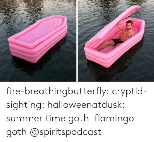 Fire, Tumblr, and Summer: fire-breathingbutterfly: cryptid-sighting:  halloweenatdusk: summer time goth  flamingo goth   @spiritspodcast