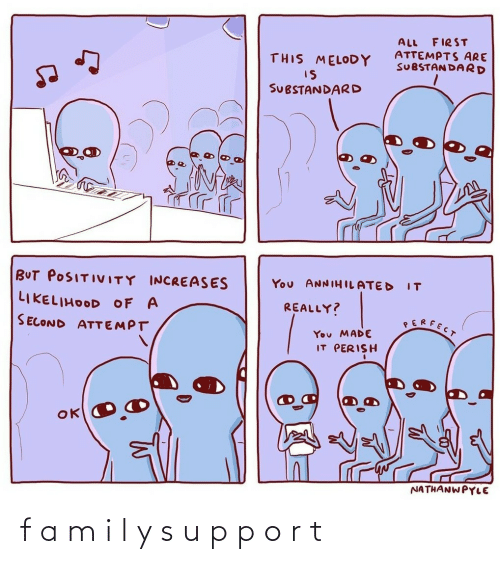 positivity: FIRST  ALL  ATTEMPTS ARE  SUBSTAN DARD  THIS MELODY  IS  SUBSTANDARD  BUT POSITIVITY INCREASES  You ANNIHILATED  IT  LIKELIHOOD OF A  REALLY?  SERFECT  SECOND ATTEMPT  You MADE  IT PERISH  NATHANWPYLE f a m i l y s u p p o r t