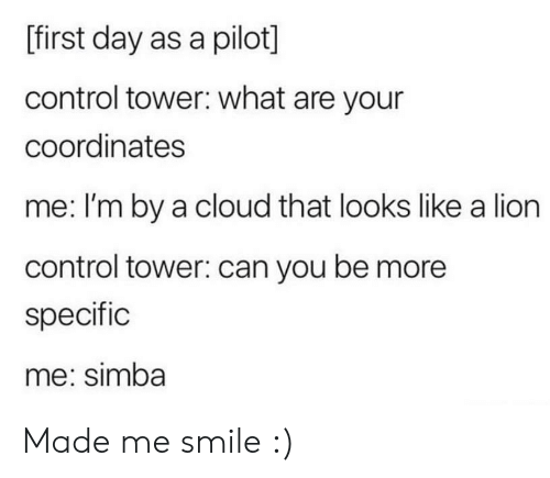 tower: [first day as a pilot]  control tower: what are your  coordinates  me: I'm by a cloud that looks like a lion  control tower: can you be more  specific  me: simba Made me smile :)