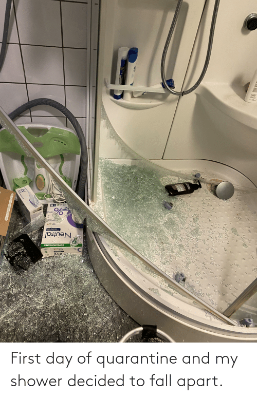 fall apart: First day of quarantine and my shower decided to fall apart.