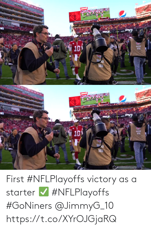 first: First #NFLPlayoffs victory as a starter ✅ #NFLPlayoffs #GoNiners @JimmyG_10 https://t.co/XYrOJGjaRQ