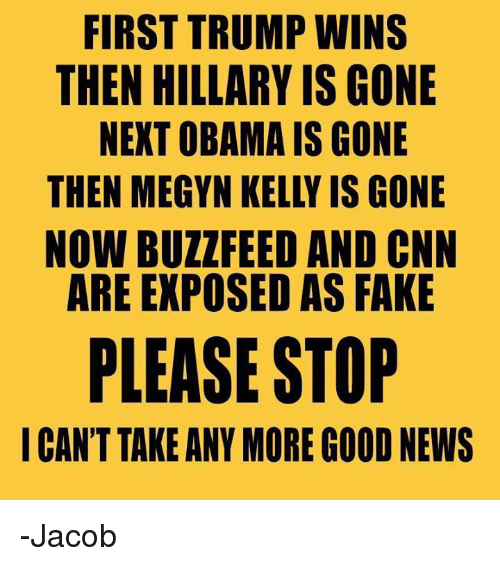 kelli: FIRST TRUMP WINS  THEN HILLARY IS GONE  NEXT OBAMA IS GONE  THEN MEGYN KELLY IS GONE  NOW BUZZ FEED AND CNN  ARE EXPOSED AS FAKE  PLEASE STOP  I CAN'T TAKE ANY MORE GOOD NEWS -Jacob