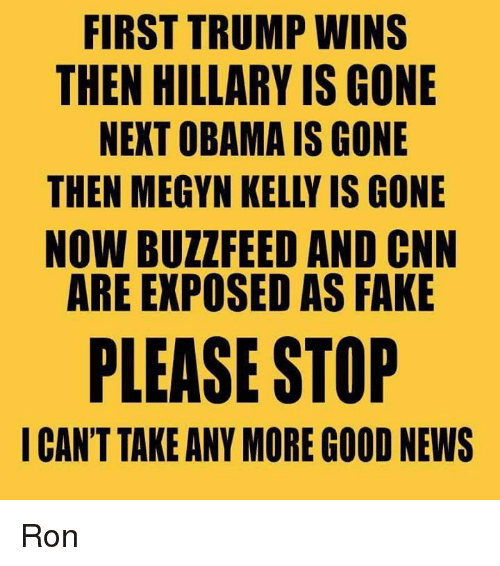 kelli: FIRST TRUMP WINS  THEN HILLARY IS GONE  NEXT OBAMA IS GONE  THEN MEGYN KELLY IS GONE  NOW BUZZ FEED AND CNN  ARE EXPOSED AS FAKE  PLEASE STOP  I CAN'T TAKE ANY MORE GOOD NEWS Ron