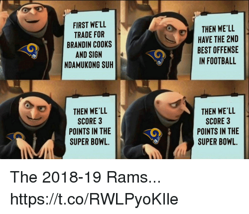 Football, Nfl, and Sports: FIRST WE'LL  TRADE FOR  BRANDIN COOKS  AND SIGN  NDAMUKONG SUH  THEN WE'LL  HAVE THE 2ND  BEST OFFENSE  IN FOOTBALL  THEN WE'LL  SCORE 3  POINTS IN THE  SUPER BOWL.  THEN WE'LL  SCORE 3  POINTS IN THE  SUPER BOWL. The 2018-19 Rams... https://t.co/RWLPyoKIle