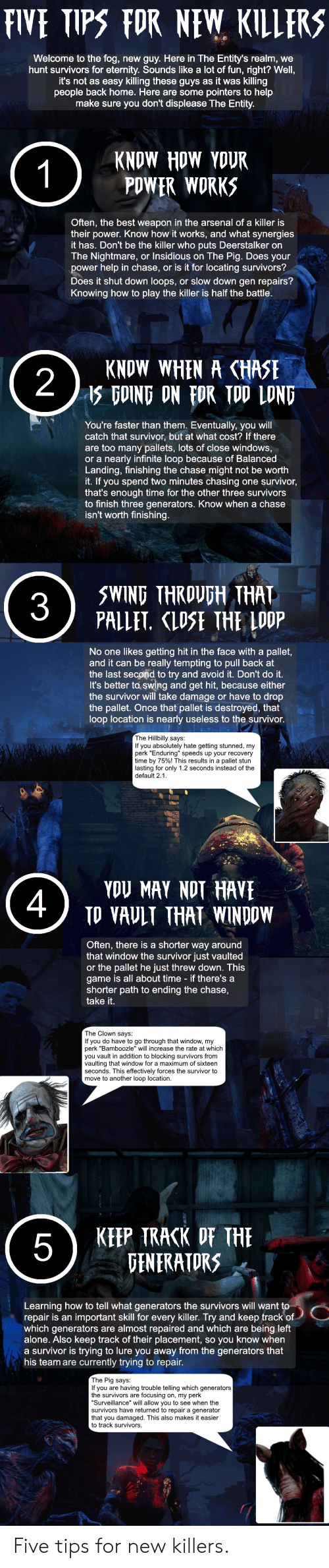 """Being Alone, Arsenal, and Windows: FIVE TIPS FOR NEW KILlERS  Welcome to the fog, new guy. Here in The Entity's realm, we  hunt survivors for eternity. Sounds like a lot of fun, right? Wel  it's not as easy killing these guys as it was killing  people back home. Here are some pointers to help  make sure you don't displease The Entity  KNOW HOW YOUR  PDWER WORKS  Often, the best weapon in the arsenal of a killer is  their power. Know how it works, and what synergies  it has. Don't be the killer who puts Deerstalker on  The Nightmare, or Insidious on The Pig. Does your  power help in chase, or is it for locating survivors?  Does it shut down loops, or slow down gen repairs?  Knowing how to play the killer is half the battle  KNOW WHEN A CHASE  GOING ON FOR IOD LOND  2  You're faster than them. Eventually, you will  catch that survivor, but at what cost? If there  are too many pallets, lots of close windows  or a nearly infinite loop because of Balanced  Landing, finishing the chase might not be worth  it. If you spend two minutes chasing one survivor  that's enough time for the other three survivors  to finish three generators. Know when a chase  isn't worth finishing  5WING THRDUFH THAT  PALLET, LSE THE LOOP  No one likes getting hit in the face with a pallet,  and it can be really tempting to pull back at  the last second to try and avoid it. Don't do it.  It's better to swing and get hit, because either  the survivor will take damage or have to drop  the pallet. Once that pallet is destroyed, that  loop location is nearly useless to the survivor  The Hillbilly says:  If you absolutely hate getting stunned, my  perk """"Enduring speeds up your recovery  time by 75%) This results in a pallet stun  lasting for only 1.2 seconds instead of the  default 2.1  YDU MAY NDT HAVE  TO VAULT THAT WINDDW  4  Often, there is a shorter way around  that window the survivor just vaulted  or the pallet he just threw down. This  game is all about time - if there's a  shorter path to endi"""