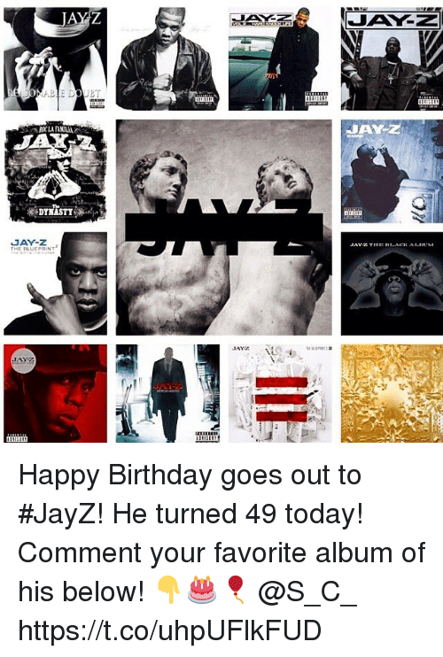 Birthday, Jay, and Jay Z: fk  auii  JAY-Z  E D.ACK A1.n  HE BLUEPRINT Happy Birthday goes out to #JayZ! He turned 49 today! Comment your favorite album of his below! 👇🎂🎈 @S_C_ https://t.co/uhpUFlkFUD