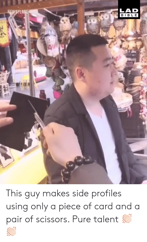 Dank, Bible, and 🤖: FLA  HLAD  BIBLE This guy makes side profiles using only a piece of card and a pair of scissors. Pure talent 👏🏻👏🏻