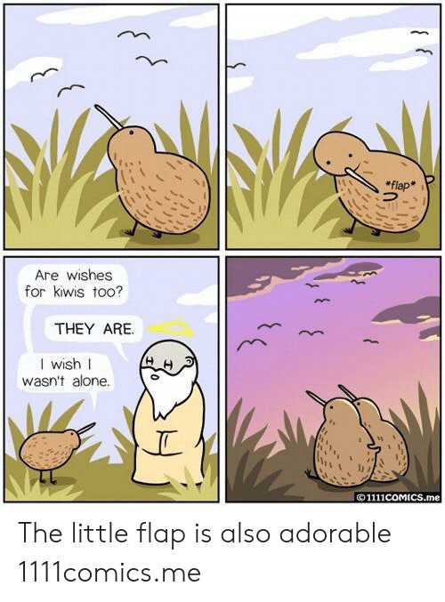 Being Alone, Adorable, and They: flap  Are wishes  for kiwis too?  THEY ARE.  I wish I  wasn't alone.  ©1111COMICS.me The little flap is also adorable  1111comics.me
