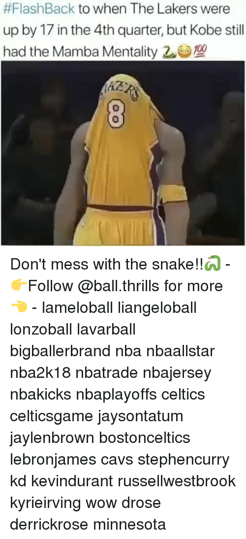 Cavs, Los Angeles Lakers, and Memes:  #FlashBack to When The Lakers were  up by 17 in the 4th quarter, but Kobe still  had the Mamba Mentality 20e !  Ke Don't mess with the snake!!🐍 - 👉Follow @ball.thrills for more👈 - lameloball liangeloball lonzoball lavarball bigballerbrand nba nbaallstar nba2k18 nbatrade nbajersey nbakicks nbaplayoffs celtics celticsgame jaysontatum jaylenbrown bostonceltics lebronjames cavs stephencurry kd kevindurant russellwestbrook kyrieirving wow drose derrickrose minnesota