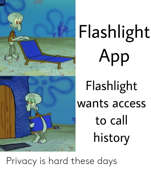 Flashlight: Flashlight  App  Flashlight  wants access  to call  history Privacy is hard these days