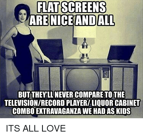 flat screen: FLAT SCREENS  ARE NICE AND ALL  BUT THEYILLNEVER COMPARE TOTHE  TELEVISIONIRECORD PLAYERILIQUOR CABINET  COMBO EXTRAVAGANZA WE HADAS KIDS ITS ALL LOVE