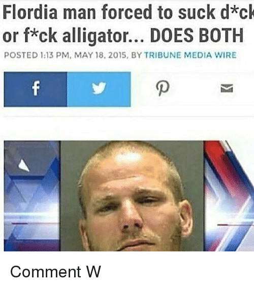 Alligator, Dank Memes, and Media: Flordia man forced to suck d*ck  or f*ck alligator... DOES BOTH  POSTED 1:13 PM, MAY 18, 2015, BY TRIBUNE MEDIA WIRE Comment W