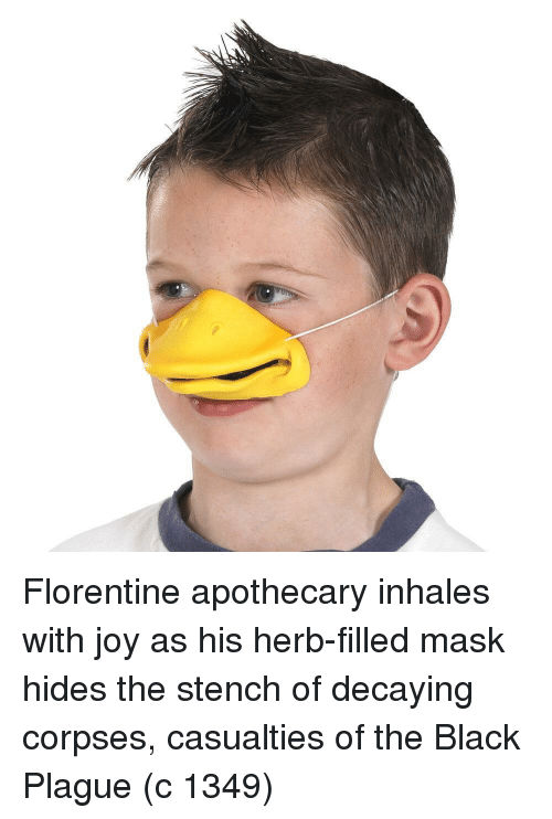 herb: Florentine apothecary inhales with joy as his herb-filled mask hides the stench of decaying corpses, casualties of the Black Plague (c 1349)