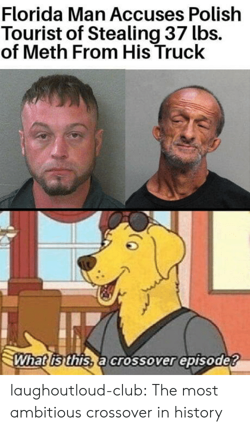 Club, Florida Man, and Tumblr: Florida Man Accuses Polish  Tourist of Stealing 37 lbs.  of Meth From His Truck  What isthis, a crossover episode? laughoutloud-club:  The most ambitious crossover in history