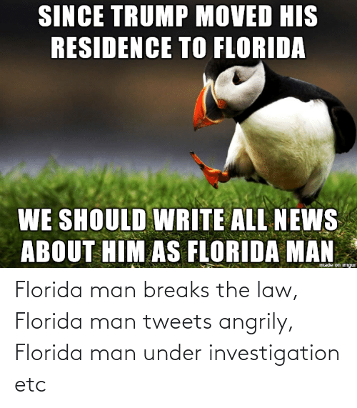 Under: Florida man breaks the law, Florida man tweets angrily, Florida man under investigation etc