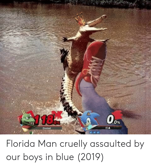 Florida Man, Blue, and Florida: Florida Man cruelly assaulted by our boys in blue (2019)