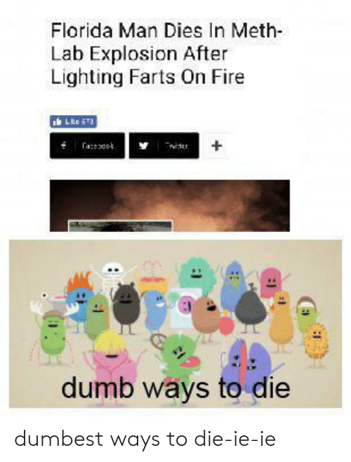 Dumb, Fire, and Florida Man: Florida Man Dies In Meth  Lab Explosion After  Lighting Farts On Fire  LReS3  aot  ter  dumb ways to die dumbest ways to die-ie-ie